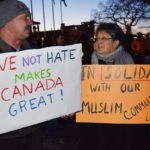 Close to 300 people attended vigil in front of City Hall Monday in support of the Muslim community and in remembrance of those who were killed in Quebec City Sunday. Bill Phillips photo