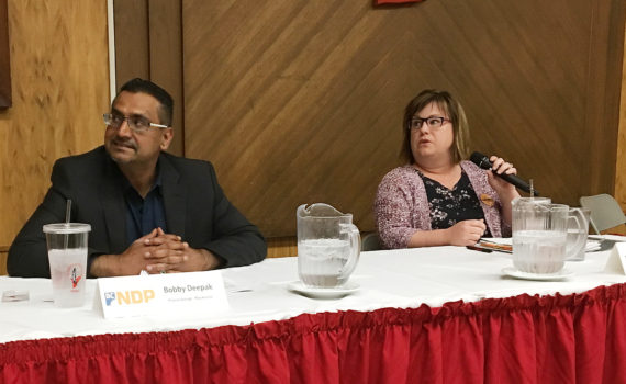 Prince George-Mackenzie NDP candidate Bobby Deepak and Prince George-Valemount NDP candidate Natalie Fletcher at an all-candidates forum at the Native Friendship Centre Thursday. Bill Phillips photo