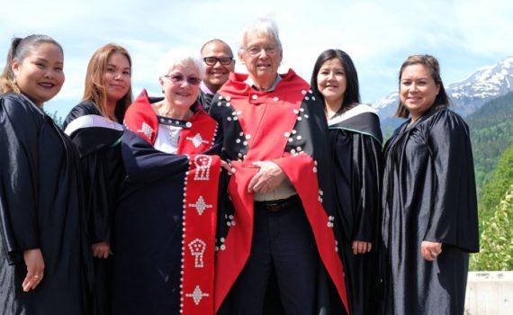 Marianne Guno (left), Constance Azak, Beverly Berger, Damian Azak, Justice Thomas Berger, Pauline Stewart and Christina Bolton. UNBC photo