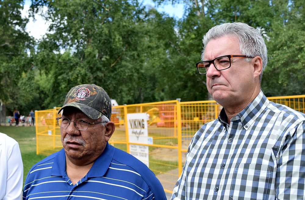 Lheidli T'enneh Chief Dominic Federick and Prince George Mayor Lyn Hall announce they will work towards finding a permanent home for remains found in Lheidli T'enneh Memorial Park. Bill Phillips photo