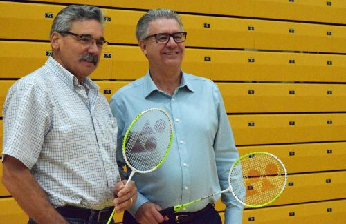 Doubles team? MLA Mike Morris and Mayor Lyn Hall get ready show their style at badminton. Bill Phillips photo