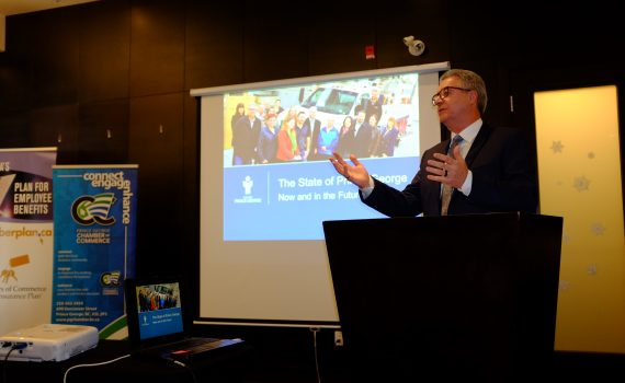Mayor Lyn Hall giving a presentation for the Prince George Chamber of Commerce earlier this year. Mayor Hall, City Manager Kathleen Soltis, and Council are offering to present referendum information directly to community organizations as we approach General Voting Day on October 28. City of Prince George photo