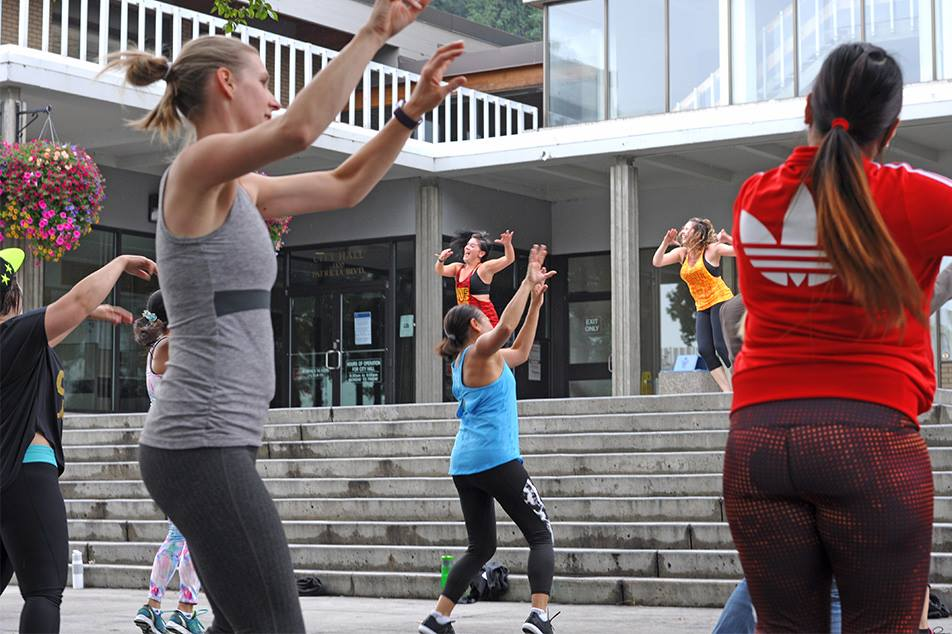 Instructors Nikki Boxer and Sandra Cardenas provided a fun and motivating environment during this dance fitness party at Veterans Plaza (right in front of City Hall) Saturday. Zumba in the Plaza is a free event and provided through a partnership between the City of Prince George and the YMCA of Northern BC. City of Prince George photo