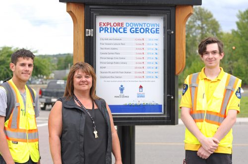 Anthony Dalzell of Tourism PG, Kim Trudeau of AWAC, and Jesse Martens of Paladin Security are part of the City's pilot Downtown Host Team Initiative. City of Prince George photo