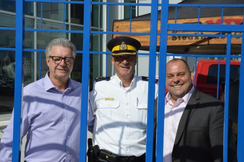 'Jailbirds' Mayor Lyn Hall (left), Supt. Warren Brown, and Cariboo-Prince George MP Todd Doherty at the Jail and Bail fundraiser for the Tour de North. RCMP photo