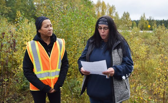 Louanne Montgomery reads a statement about her daughter Natasha, thanking those who came out to search for her body near the Bowron River rest stop off Highway 16 Wednesday. Bill Phillips photo