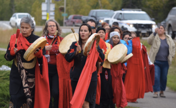 The Red Dress Project drew scores of people to the intersection of Highway 97 and Highway 16 on the weekend. The Red Dress Project is an 'aesthetic' response to the missing and murdered indigenous women in Canada. Barb Nederpel Twitter photo
