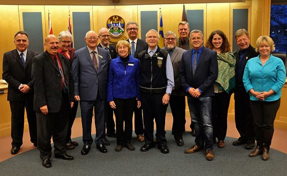 During tonight's meeting, City Council took a few moments to honour the Prince George Citizens of the Year for 2017. From left: Selen Alpay, Harold Hartshorne, Dee and Ron Neukomm, and Shawn Rice. City of Prince George photo