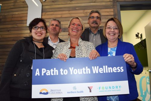 Kaitlyn Chouniard (left); Steve Mathias, executive director of Foundry; Mental Health and Addictions Minister Judy Darcy; Prince George-Mackenzie MLA Mike Morris; and Prince George-Valemount MLA Shirley Bond at the Foundry grand opening in Prince George Thursday. Bill Phillips photo