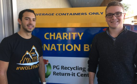 Tanner Moulton (left) and Adam Barlow of the UNBC JDC West team, which is organizing the Inside Ride this year. Bill Phillips photo