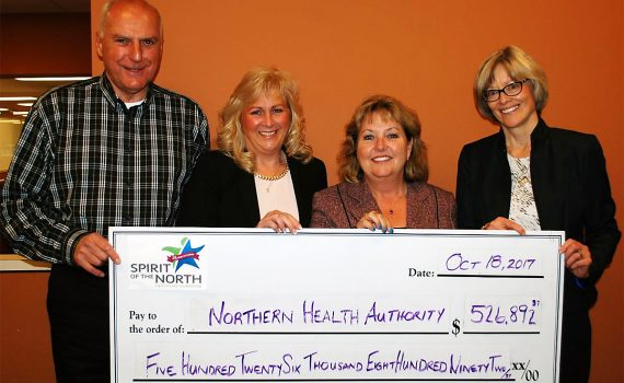 Northern Health representatives accept a $526,892 donation from the Spirit of the North Healthcare Foundation. They are (from left) David Yarmish, Spirit of the North Board member; Judy Neiser, Spirit of the North Chief Executive Officer; Colleen Nyce, Northern Health Board Chair; Cathy Ulrich, Northern Health President and Chief Executive Officer. These funds will support a number of health care services and supports across northern B.C. Northern Health photo