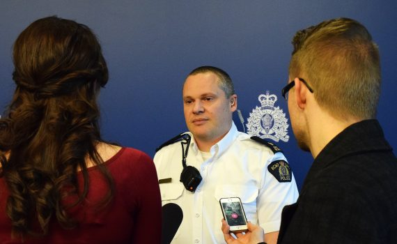 Inspector Shaun Wright, Operations Officer for the Prince George RCMP, talks with local media about an arrest made in a kidnapping and sexual assault case. Bill Phillips photo