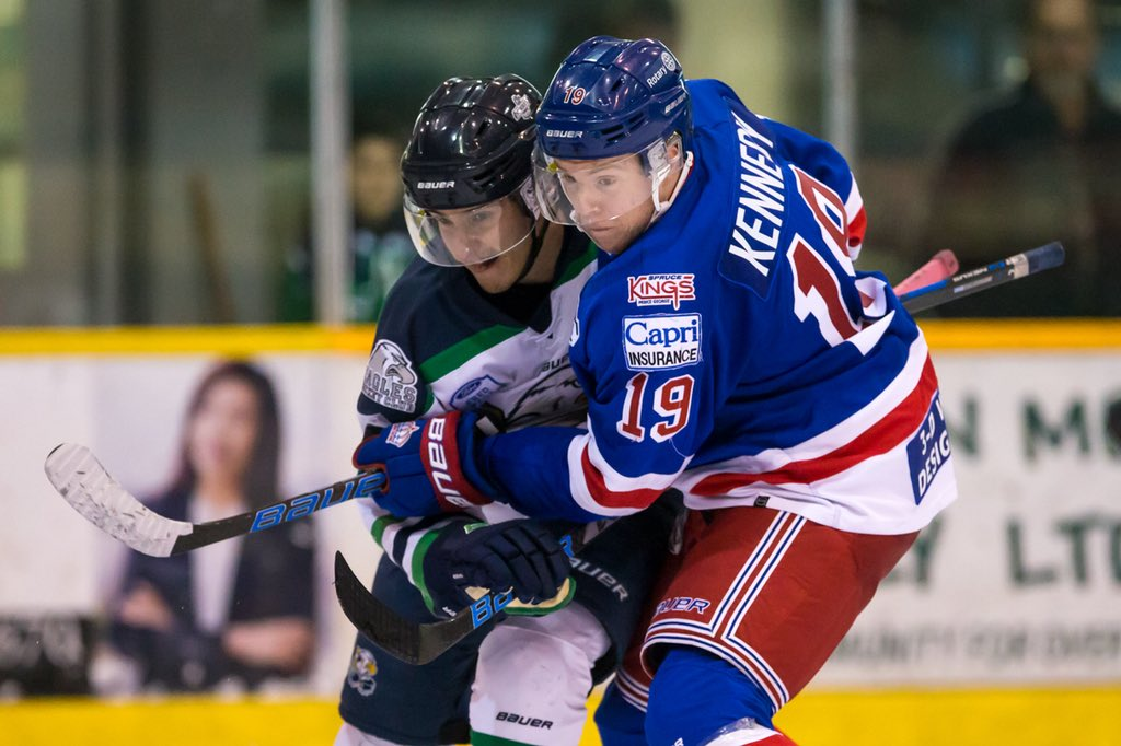 Spruce Kings forward Shawn Kennedy battles for position during Friday's game in Surrey. Garrett James photography