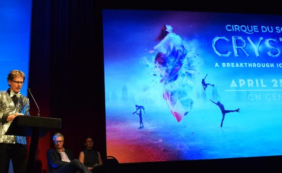 CN Centre manager Glen Mikkelsen at the Cirque du Soleil announcement Wednesday. Bill Phillips photo