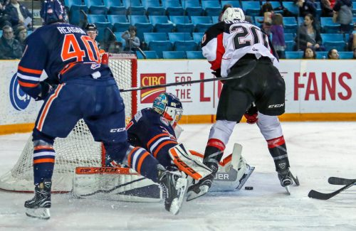 Kamloops Blazers netminder Dylan Ferguson makes a save. Allan Douglas photo