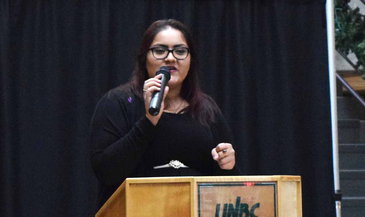 Hira Rashid speaks at the UNBC memorial of the Montreal Massacre Day of Remembrance and Action on Violence Against Women. Bill Phillips photo