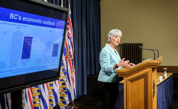 Finance Minister Carole James presents second quarter financial report. Province of B.C. photo