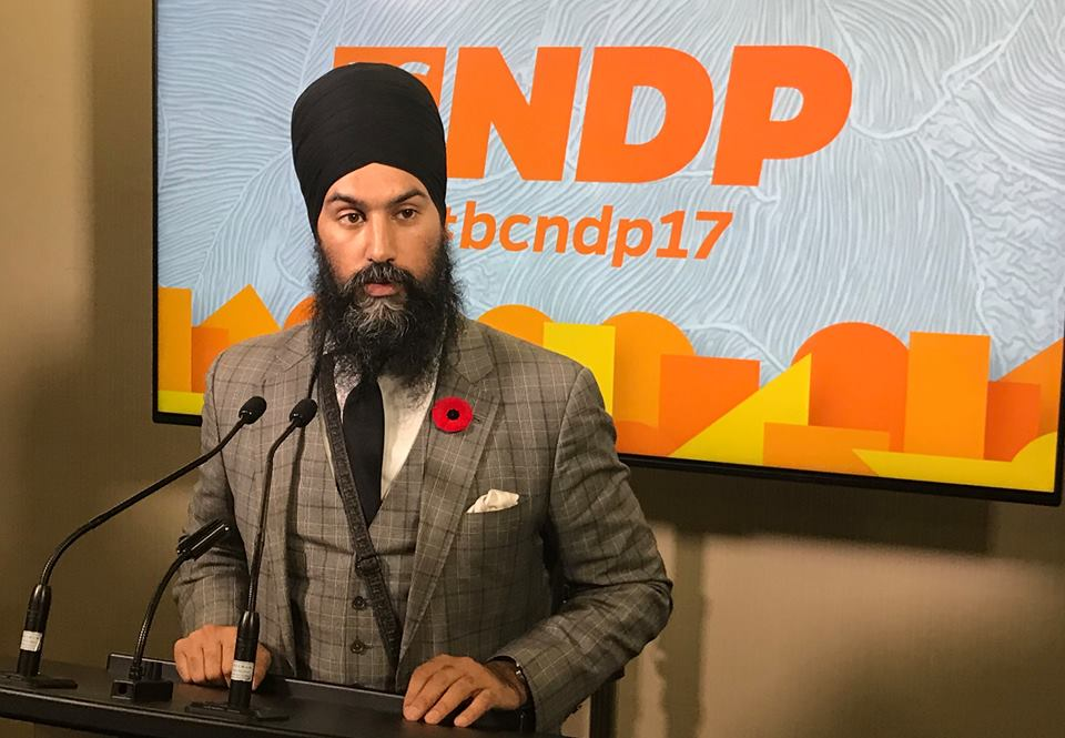 Federal NDP leader Jasmeet Singh addresses delegates at the BC NDP convention in Victoria Saturday. Facebook photo