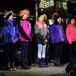 The choir from Ecole Lac Du Bois school entertain the crowd at the Civic Light Up festivities Sunday. Bill Phillips photo