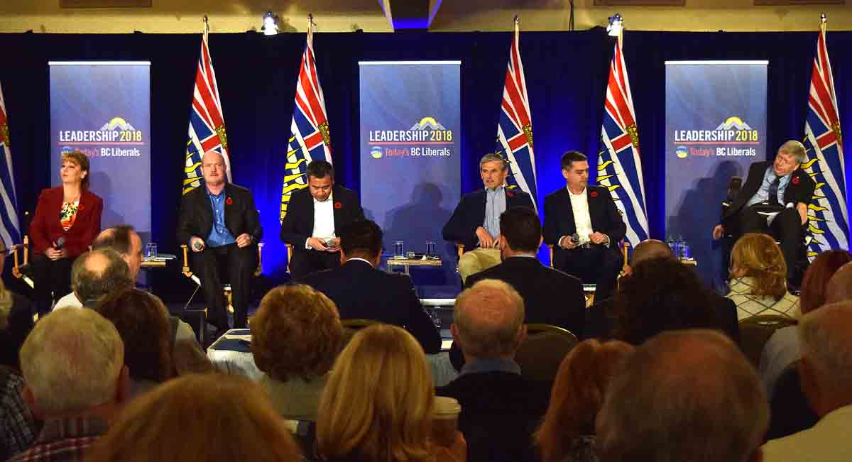 Liberal leadership candidate Dianne Watts, Mike de Jong, Michael Lee, Andrew Wilkinson, Todd Stone, and Sam Sullivan at the leaders' debate at the Coast Inn of the North Saturday. Story to come.