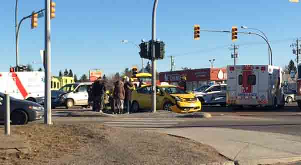 Traffic was snarled at the intersection of 15th Avenue and Highway 97 Sunday afternoon as crews dealt with a two-vehicle accident involving a taxi and an minivan. It's not known if there were any injuries.