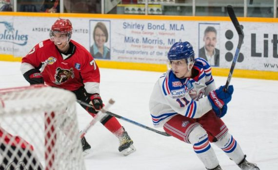 Patrick Cozzi rounds the net in the Spruce Kings' 4-1 win over Alberni Valley. Spruce Kings photo