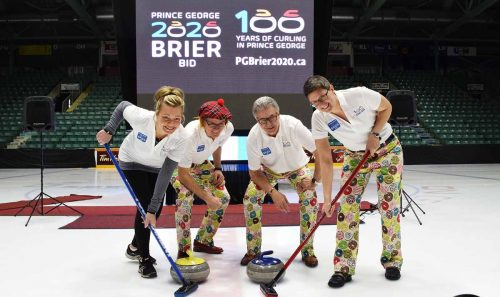 2015 B.C. Scotties Tournament of Hearts champion Patti Knezevic, CN Centre general manager Glen Mikkelsen, Mayor Lyn Hall, and Tourism PG CEO Erica Hummel are ready for the 2020 Tim Horton's Brier. Bill Phillips photo