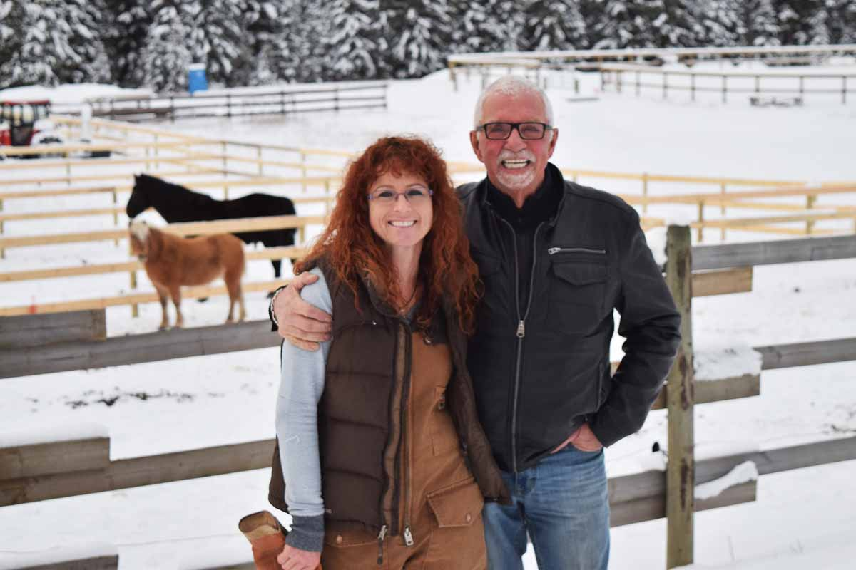 Nicola Redpath and John Brink at the Prince George Equine and Animal Rescue Centre. Bill Phillips photo
