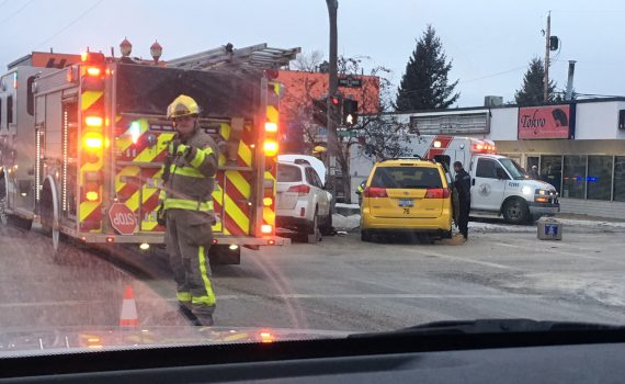 Emergency crews attend a minor accident at the corner of Victoria Avenue and Spruce Street Tuesday afternoon.