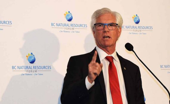 Federal natural resources minister Jim Carr announces $6.45 million in funding for forest project in northern B.C. at the B.C. Natural Resources Forum. Bill Phillips photo