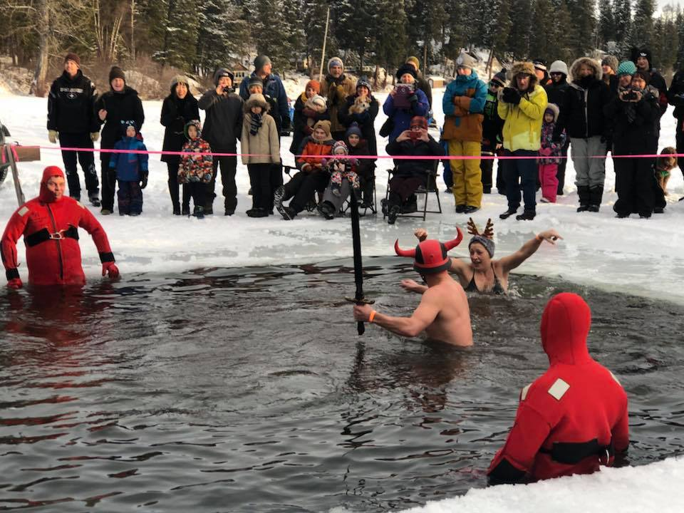 Many intrepid souls braved the icy waters of Ness Lake January 1 for the 17th annual Polar Bear Dip. More than $7,000 was raised for the Ness Lake Bible Camp during the event. HYPG photo