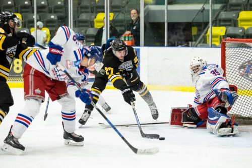 Spruce Kings netminder Bradley Cooper made 29 saves in recording shut out in Coquitlam Saturday. Damon James photo