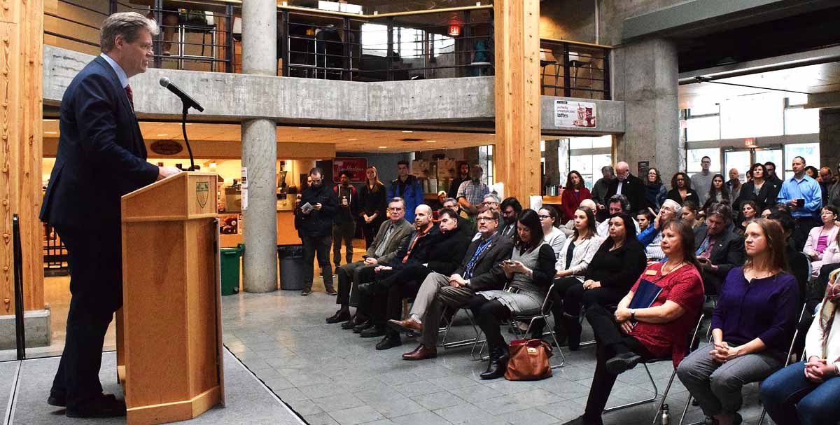 Dr. Dan Ryan, Provost and Vice-President, Academic at UNBC, announces the creation of an undergraduate civil engineering program at UNBC. Bill Phillips photo