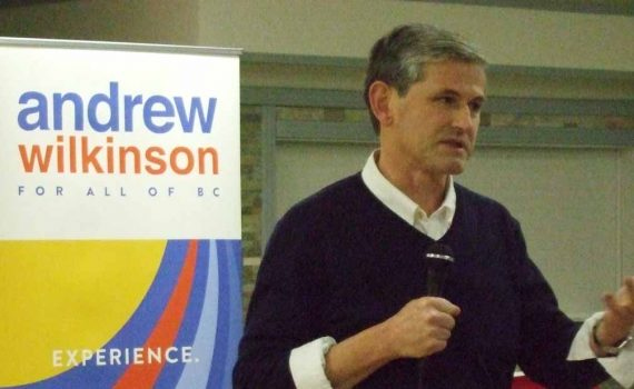 BC Liberal Party leadership hopeful Andrew Wilkinson speaks to about 60 party members in Prince George Saturday. Bill Phillips photo