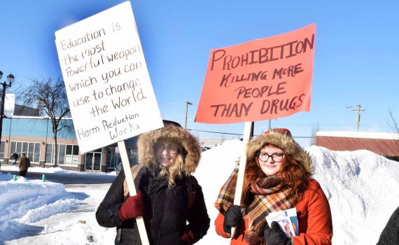 Teresa Smith and Kimber McCormack attend the Day of Action on the Opioid Crisis at the Courthouse Tuesday. Bill Phillips photo