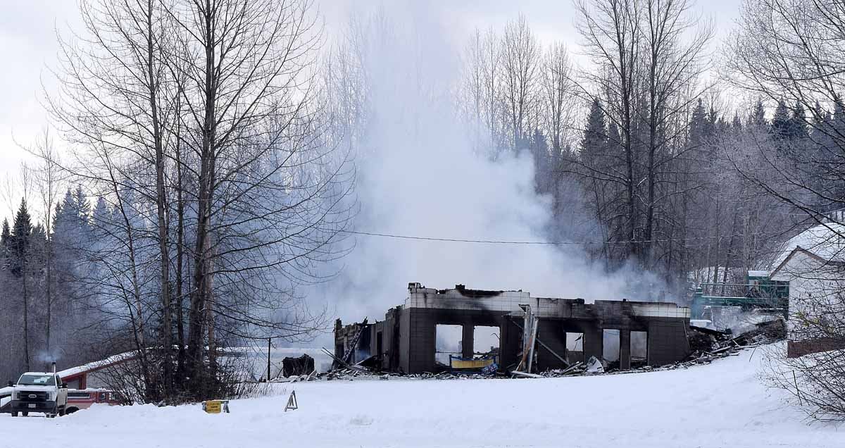 The lodge at Tabor Mountain Ski Hill was completely destroyed by fire early Thursday morning. The hill will be closed this weekend. Bill Phillips photo