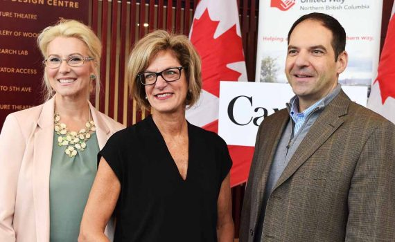United Way of Northern BC CEO Roberta Squire (left) and board chair Sotirios Korogonas with Pamela Goldsmith-Jones, parliamentary secretary to the minister of international trade, who announced the United Way of Northern B.C. will receive $2.2 million to support projects that prevent and reduce homelessness. Bill Phillips photo