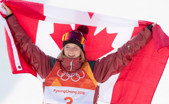 Cassie Sharpe after winning gold at PyeongChang. Canada Olympic Committee photo