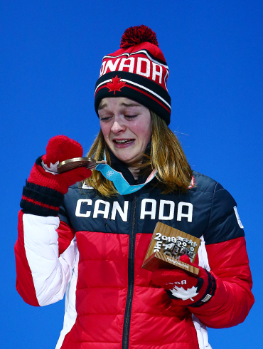 Kim Boutin of Canada receives her Bronze medal in the Short Track Speed Skating Women's 500m Final at the PyeongChang Olympic Plaza during the Pyeonchang Winter Olympics in Gangneung, South Korea on February 14, 2018. (Photo by Vaughn Ridley/COC)