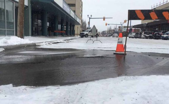 City crews are on the scene of a watermain break in the 1500 block of Third Avenue downtown. Water is running down Third Avenue, hanging a left and then a right down Second Avenue. Best of avoid the area if you can.