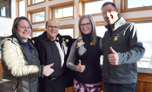 Janna Peters (left) of the Canadian Cancer Society, David Duck, Climb for Cancer campaign chair, Sandra Blackwell of the Canadian Cancer Society, and Doug Bell of Northern Lights Estate Winery are ready for the Climb for Cancer.