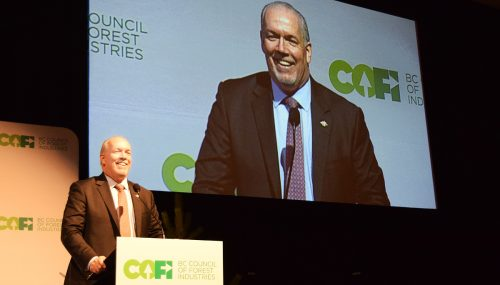 Premier John Horgan speaks at the Council of Forest Industries Convention in Prince George Friday. Bill Phillips photo