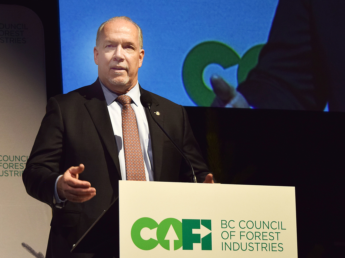 Premier John Horgan addresses a crowd of about 500 at the Council of Forest Industries convention in Prince George Friday. Bill Phillips photo