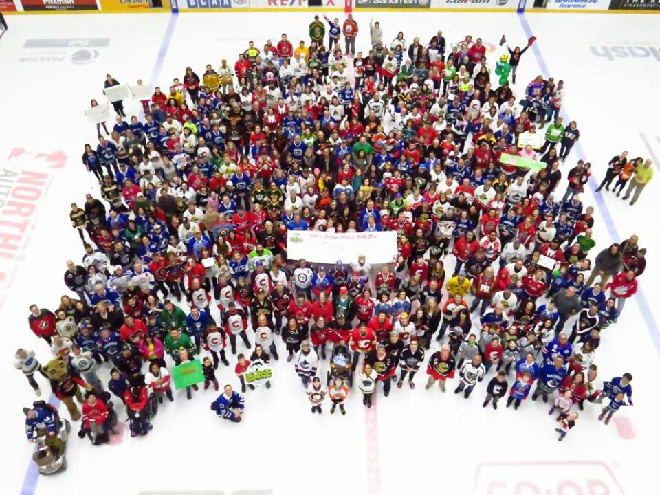 Hundreds of Prince George residents, wearing their hockey jerseys, sent a message of support to the community of Humboldt, Saskatchewan Thursday, gathering at centre ice in CN Centre to have a photo taken. The Cougars arranged the photo will be framed and sent to Humboldt to show this city's support in that city's time of tragedy. Chuck Chin/Hell Yeah Prince George