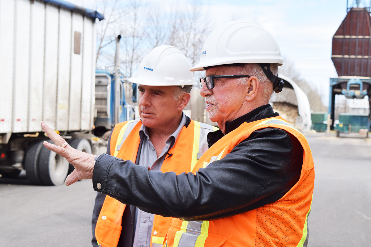 John Brink shows Coun. Brian Skakun around Brink Forest Products on River Road. Bill Phillips photo
