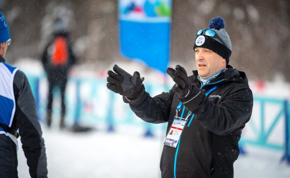 2019 World Para Nordic Skiing Championships host committee chair Kevin Pettersen talks to competitors on the course at Otway. Kelly Bergman/BergMedia