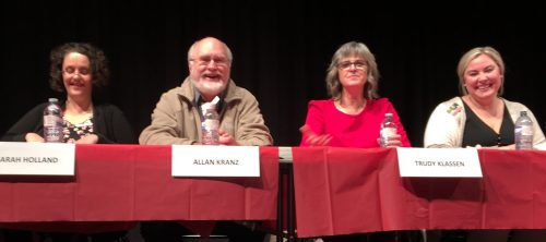School district board of education candidates Sarah Holland, Allan Kranz, Trudy Klassen, and Stephanie Mikalishen-Deol.