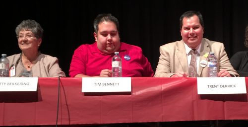 School trustee candidates Betty Bekkering, Tim Bennett, and Trent Derrick.