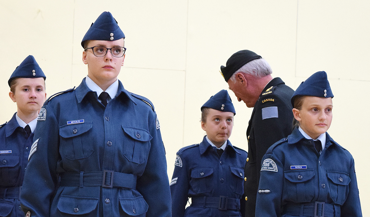 Honourary Lt. Colonel Tom Newell of the Rocky Mountain Rangers inspects cadets during the 70th annual Prince George Air Cadets ceremonial review Tuesday. Bill Phillips photo