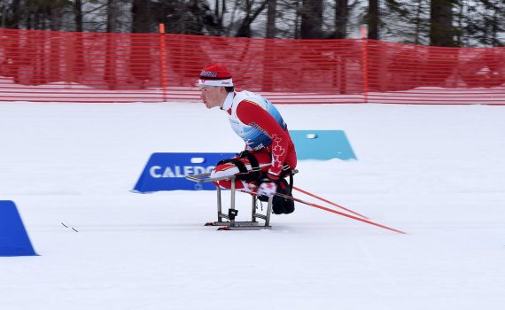 Canada's Ethan Hess in the men's 7.5-kilometre sitting category at the 2019 World Para Nordic Championships. Bill Phillips photo